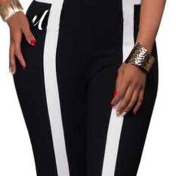 Contrast Color Halter Backless Slim Long Jumpsuits
