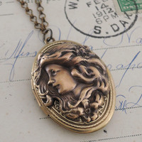Locket Necklace - Art Nouveau Locket - Vintage Brass jewelry - handmade jewelry