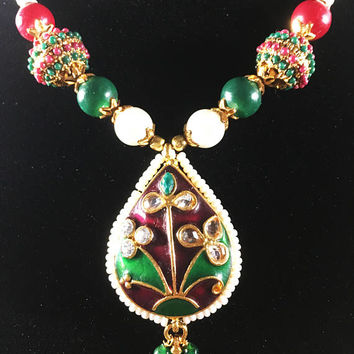 Bollywood Style Choker Modern Eastern India Costume Mod Green Red Gold White Bead Statement Necklace East Asian Belly Dancer Gift for Her