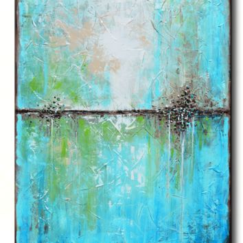 GICLEE PRINT Art Abstract Painting Aqua Blue Green White Textured Coastal Large Canvas Prints