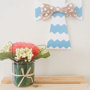 Hand Painted White and Baby Blue Chevron Wooden Cross with Light Brown and White Polka Dots Burlap Bow