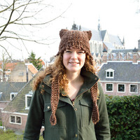 Chunky Knit Cat Hat - Chocolate Brown Tweed - Womens Ear Flap Hat