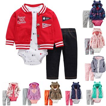 Baby Boy and Girl Hooded Long Sleeve Clothing Set of 3pcs soft Cotton Long Sleeve and Short Sleeve Bodysuit and Long Pants