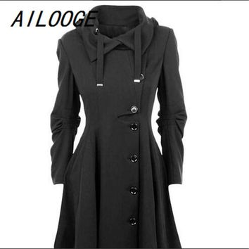 AILOOGE 2017 Fashion Long Medieval Trench Coat Women Winter Black Stand Collar Gothic Coat Elegant Women Coat Vintage Female