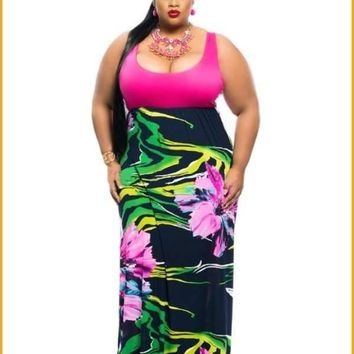 Extended Sizes Stripe Print Maxi Dress
