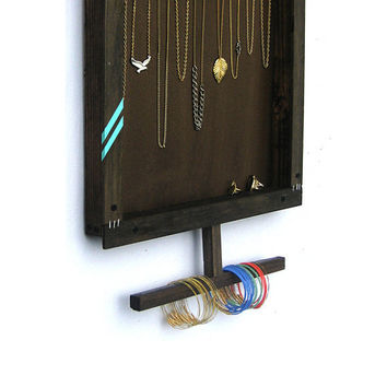 Jewelry Organizer // Display & Store Necklaces Bracelets Rings // Wall Mount Holder // Hooks Tree // Handmade Eco-Friendly Furniture// Gift