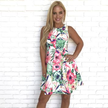 Tropical Vacay Floral Skater Dress