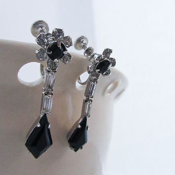 Vintage Jet and clear Rhinestone Earrings, Clip on earrings, Screw, black