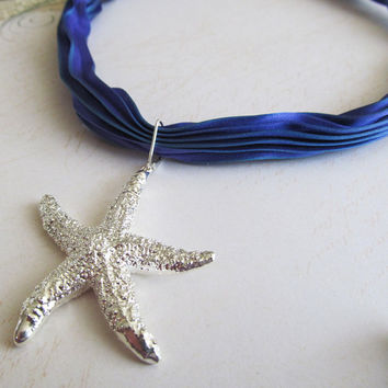 Mermaid's Dream Necklace:  Silver Starfish Pendant Necklace on Blue Silk Shibori Ribbon