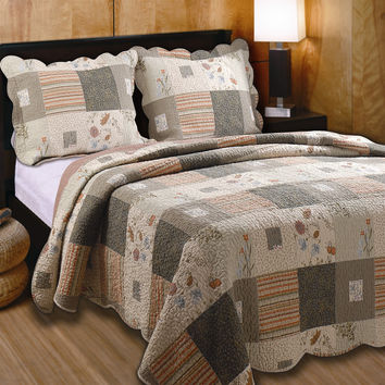 Full / Queen 100% Cotton Quilt Set with 2 Shams Southwest Wildflowers