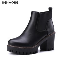NEMAONE PU Leather Women Shoes Square High Heel Ankle Boots Round Toe Women Motorcycle Boot us Size 10 11 12 34-43