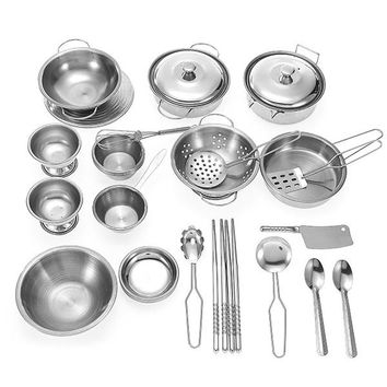 32PCS Kitchen Pan Pot Dish MIni Stainless Kitchenware Play Set Children Kids Pretend Role Play Toy Gift