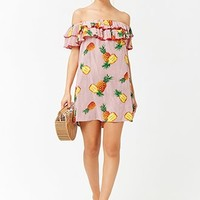 Striped Pineapple Print Off-the-Shoulder Dress