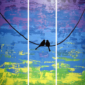 extra large wall art triptych love bird on a wire abstract painting triptych canvas purple wall art abstraction contemporary art 48 x 48""