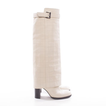 Beige Quilted Leather Tall Knee Boots with Buckle size:7.5