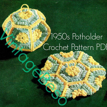 Potholder Crochet Pattern Vintage 1950s Lantern Crochet Pattern Lantern Potholder is Unique Lovely Fuctional Instant Download PDF Pattern
