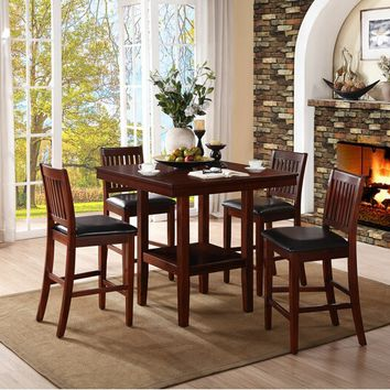 Home Elegance 5050-36 5 pc galena collection warm cherry finish wood counter height dining table set with upholstered seats
