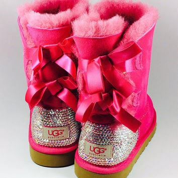 Pinkk Bailey Bow UGG's with Swarovski Crystals