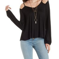Strappy Long Sleeve Cold Shoulder Top by Charlotte Russe