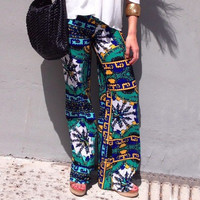 Tropical Print Yoga Pants