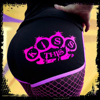 Roller Derby Shorts, Kiss This Knuckle Duster, Black & Neon Pink shorts