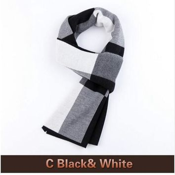 100% Lamb Wool Plaid Male Scarf Men Luxury Brand Winter Wool Bandana Spring Autumn Scarves for Men Christmas Gift B-3822