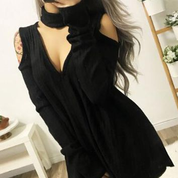 Black Choker Neck Plunge Cold Shoulder Long Sleeve Mini Dress