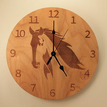 Horse laser cut clock Animal clock Wood clock Wall clock Wooden wall clock Western design Farm decor Home clock Stallion clock Horse riding