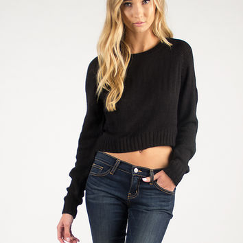 Cropped Knit Sweater - Black - Large