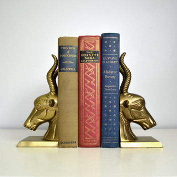 Vintage Brass Antelope Bookends Regency Gold Tone by saltandginger