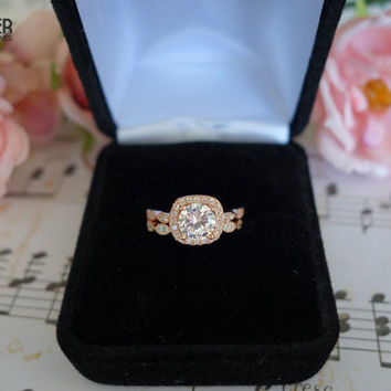 1.25 Carat Halo Wedding Set, Vintage Bridal Rings, Man Made Diamond Simulants, Art Deco Engagement Ring, Wedding, Sterling Silver, ROSE Gold