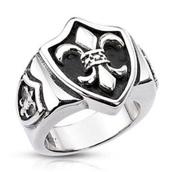 Royal Fleur De Lis Triple Shield Ring Stainless Steel