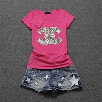 """""""Chanel"""" Women Casual Fashion Sequin Letter Logo Embroidery Short Sleeve Bodycon Cotton Shirt Top Tee"""
