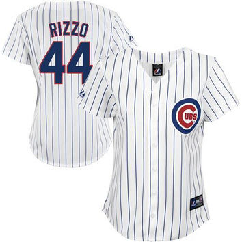 Anthony Rizzo Chicago Cubs Women's #44 Replica Jersey - White Pinstripe