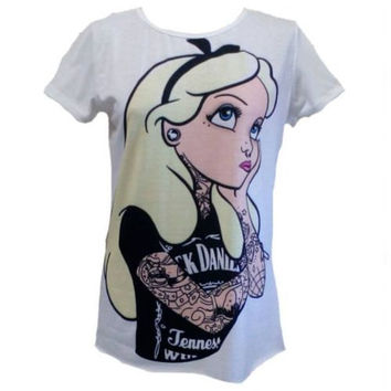 Maglietta shirt ALICE disney punk tatto donna frau femme