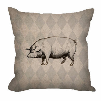 Vintage Style Pig Throw Pillow on rustic tan and taupe harlequin pattern
