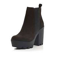 River Island Womens Brown suede cleated Chelsea boots