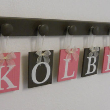 Baby Girl Nursery Wall Decorations Letter Sign, Wooden Baby Name Personalized Hanging Letters 6 Wood Hangers Pink and Brown - KOLBEE