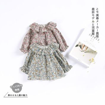 2017 Wholesale Toddler Girl Clothing Girls Shirts Kids Long Sleeve Cotton Floral Blouses Baby Clothes