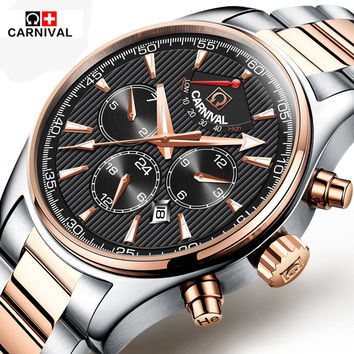 Carnival Luxury Brand sports Business Men Wrist Watches Automatic Mechanical Watch Military stainless steel Watch reloj Relogio