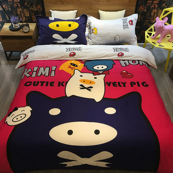 Personality cute piglets bed linen live cotton quilt bed sheets  sets