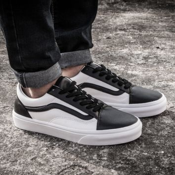 VANS Classic black and white leather casual shoes