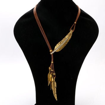 New Statement Choker Fashion Charms Leaf Collar Vintage Tassel Crystal Punk Rope Chain Feather Necklaces Women Fine Jewelry A041
