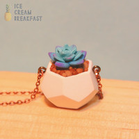 Succulent with Geometric Planter Necklace Aqua Echeveria with Copper Chain