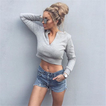 Fashion Autumn Winter Long Sleeve Sexy V-Neck Crop Top [9535611140]
