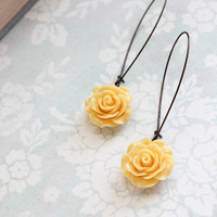 Yellow Rose Earrings Long Dangle Earrings Bridesmaid Gift Romantic Country Chic Garden Wedding Jewelry Flower Earrings Bridal Acessories