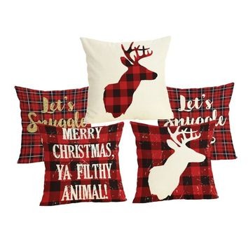 Comwarm Christmas Letter Plaid Pattern Pillow Case Linen Cotton Deer Red Color Dining Chair Pillow Cover For Sleeping Traveling