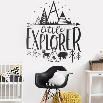 Little Explorer Wall Decals Quotes Kids Room Cute Adventure Stickers Nursery Decor Art Woodland Mural Home Decor Wallpaper LC005