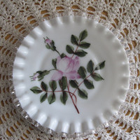Fenton Milk Glass Silver Crest Pink Rose Plate Charleton Company - FL