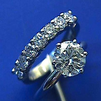 1.68ct E-IF Round Diamond Engagement & Wedding Ring 18kt White Gold JEWELFORME BLUE